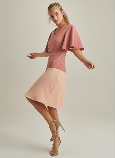 NGSTYLE V Yakalı Renk Bloklu Elbise Gül Kurusu